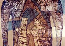 Entropia nr27 - Técnica mixta sobre madera - Tamaño 134x74 cm. Año 2001.