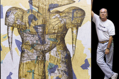 Entropía en Manhattan 2001. Técnica mixta sobre madera. Tamaño 200x200 cm. Año 2001.