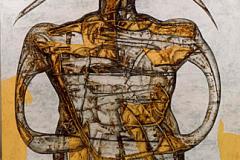 Futuro y presente nr4 - Técnica mixta sobre madera - Tamaño 110x110 cm. Año 2001.